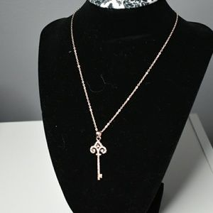 Dainty key pendant necklace set with earrings